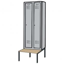 Kleiderspind mit untergebauter Sitzbank und Drehriegelverschluss, HxBxT 2090x610x500/815 mm