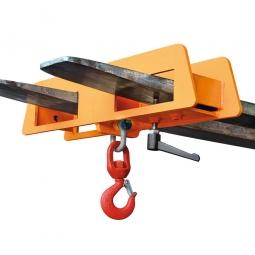 Lasthaken mit Wirbellasthaken, LxBxH 170x750x390 mm, Tragkraft 2500 kg, orange