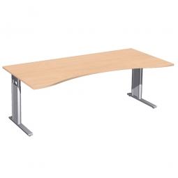 Schreibtisch PREMIUM höhenverstellbar, Buche/Silber, BxTxH 2000x800/1000x680-820 mm