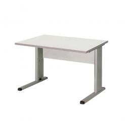 Schreibtisch mit C-Fußgestell, Farbe silber, Platte lichtgrau, BxTxH 800x800x680-820 mm