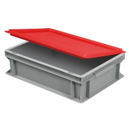 Scharnierdeckel für Euro-Geschirrkasten, LxB 400x300 mm, rot, Gewicht 450 g