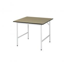 Arbeitstisch mit MDF-Tischplatte, BxTxH 1250x800x800-850 mm, Gestell lichtgrau RAL 7035