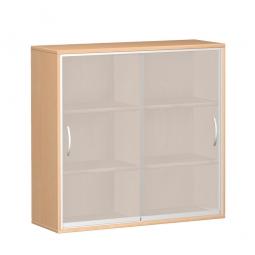 Glas-Schiebetürschrank PRO 3 Ordnerhöhen, Buche, BxHxT 1200x1152x425 mm