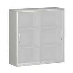 Glas-Schiebetürschrank PRO 3 Ordnerhöhen, lichtgrau, BxHxT 1600x1152x425 mm