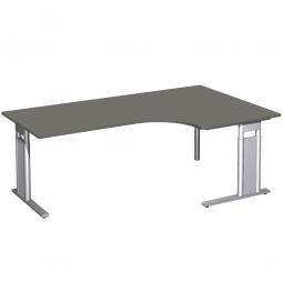 Schreibtisch PREMIUM, Tischansatz rechts, Graphit/Silber, BxTxH 2000x800/1200x680-820 mm