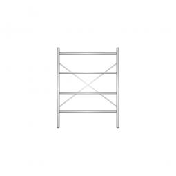 Aluminiumregal mit 4 geschlossenen Regalböden, Stecksystem, BxTxH 1200 x 400 x 1600 mm, Nutztiefe 340 mm