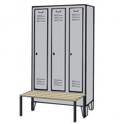 Kleiderspind mit Füßen, vorgebaute Sitzbank und Drehriegelverschluss, HxBxT 1850 x 900 x 500/815 mm