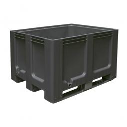 Großbox / Großbehälter mit 3 Kufen, 610 Liter, LxBxH 1200 x 1000 x 760 mm, Boden/Wände geschlossen, anthrazit