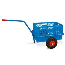 Handwagen mit Kunststoffkorb, H 320 mm, blau, LxBxH 1250 x 640 x 660 mm, Tragkraft 200 kg