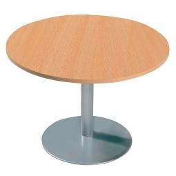Konferenztisch mit Säulenfuß, alusilber, Platte Buche, Ø 800 mm, Höhe 720 mm