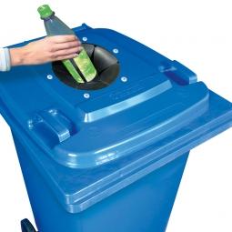 Müllbehälter mit Glaseinwurf, BxTxH 580 x 740 x 1070 mm, 240 Liter, blau