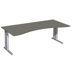 Schreibtisch PREMIUM höhenverstellbar, Graphit/Silber, BxTxH 2000x800/1000x680-820 mm
