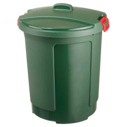 Deckeltonne mit Deckel, 75 Liter, Ø oben/untenxH 490/390 x 640 mm, grün