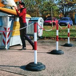 Mobiler Kettenständer mit Kunststoff-Fuß, Stahl-Ständer, rot/weiß kunststoffbeschichtet