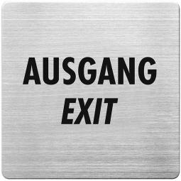 """Hinweisschild """"Ausgang"""", Edelstahl, HxBxT 90x90x1 mm"""