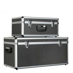 Alurahmen-Transportboxen, 2er-Set, Farbe anthrazit, abklappbare Tragegriffe, abschließbar