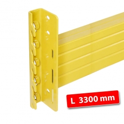 Tragbalken für Palettenregale, Stecksystem, Länge 3300 mm, Profilhöhe 140 mm, inklusive Sicherungsclips