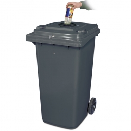Verschließbarer Müllbehälter mit Flascheneinwurf und Gummirosette, 240 Liter, grau