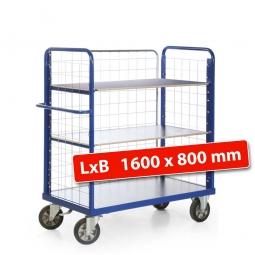 Etagenwagen mit 3 Gitterwänden/3 Ladeflächen, LxBxH 1790x800x1500 mm, Tragkraft 1200 kg