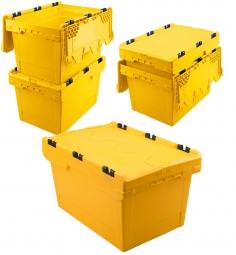 5x Universal Klappdeckelboxen, verplompbar, LxBxH 600 x 400 x 350 mm, 58 Liter, gelb