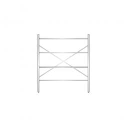 Aluminiumregal mit 4 geschlossenen Regalböden, Stecksystem, BxTxH 1400 x 400 x 1600 mm, Nutztiefe 340 mm