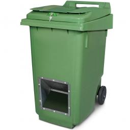 Streugutbehälter mit Entnahmeöffnung und Schließung, grün, 360 Liter, HxBxT 1100 x 600 x 875 mm