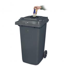 Verschließbarer Müllbehälter mit Flascheneinwurf und Gummirosette, 120 Liter, grau