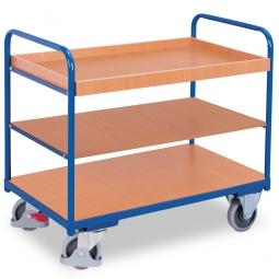 Etagenwagen mit 1 Tablett und 2 Böden, LxBxH 1060x600x990 mm, Tragkraft 250 kg