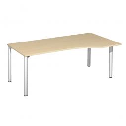 PC-Tisch, rechts Komfort, Gestell silber, Dekor Ahorn, BxTxH 1800x1000x720 mm
