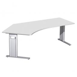 Schreibtisch PREMIUM höhenverstellbar, 135° links, Lichtgrau/Silber, BxTxH 2166x800/1130x680-820 mm