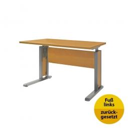 Verkettungs-Schreibtisch, Gestell silber, Platte Buche, BxTxH 800x800x680-820 mm