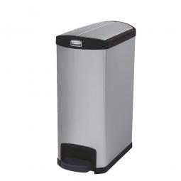 Tretabfalleimer SlimJim, 50 Liter, Edelstahl, schwarz, LxBxH 576x295x733 mm, Pedal an der Schmalseite