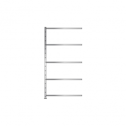 Fachboden-Anbauregal Economy mit 5 Böden, Stecksystem, BxTxH 1006 x 535 x 2000 mm, Tragkraft 330 kg/Boden, glanzverzinkt