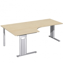 Schreibtisch PREMIUM, Tischansatz links, Ahorn/Silber, BxTxH 2000x800/1200x680-820 mm
