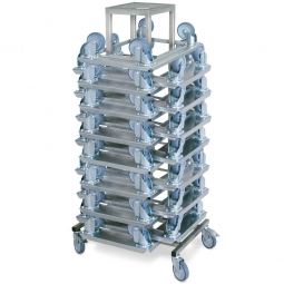 Rollerboy mit 15 Edelstahl-Transportrollern, Edelstahl, mit 4 Lenkrollen, Gummiräder, Tragkraft 250 kg