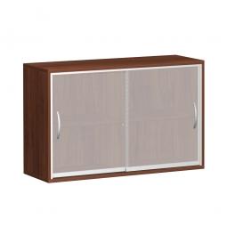 Glas-Schiebetürenschrank PRO 2 Ordnerhöhen, Nussbaum, BxHxT 1200x768x425 mm