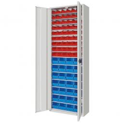 Schrank mit Sichtboxen, mit Türen, HxBxT 1980x700x300 mm, lichtgrau RAL 7035