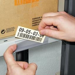 Etikettenhalter, VE = 50 Stk, selbstklebend, BxH 100x27 mm, mit 3 Bogen weißen Etiketten zum Selbstbedrucken