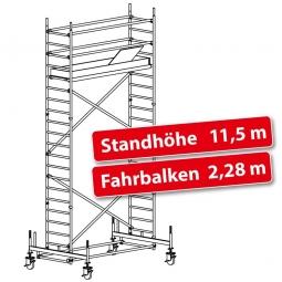 Fahrgerüst Plettac Alu Star 80 mit Fahrbalken, Arbeitshöhe 13,5 m, Gerüsthöhe 12,75 m, Standhöhe 11,5 m