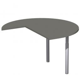 Dreiviertelkreis-Anbauplatte PREMIUM rechts, Graphit/Silber, BxTxH 1200x1200x680-820 mm, höhenverstellbar