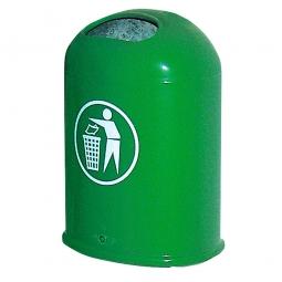 Feuerverzinkter Abfallbehälter mit Bodenklappe, 45 Liter, grün, BxTxH 430x330x600 mm