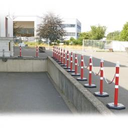 Ketten- / Warnständer Komplett-Set mit 15 Kettenständern, 28 m Kette, 1000 mm hoch, Kunststofffuß betongefüllt