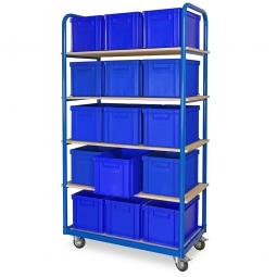 Kommissionierwagen mit 5 Ebenen und 15 Behältern in Farbe blau