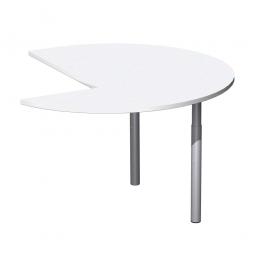 Anbautisch ELEGANCE, Dreiviertelkreis links, Dekor Weiß, Gestell Silber, ØxH 1200x680-820 mm