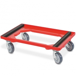 Transportroller für Isolierbehälter, offenes Deck, 4 Lenkrollen, graue Gummiräder, rot