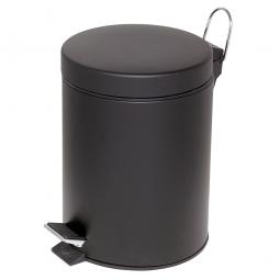Tret-Abfalleimer, Inhalt 5 Liter, schwarz, HxØ 285x205 mm, Deckelöffnung mit Pedalmechanik