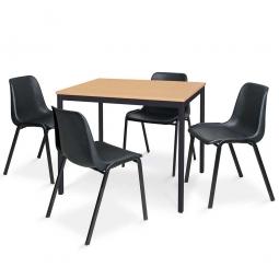 5-teiliges Tischgruppe-Komplettangebot, bestehend aus: 4 Schalenstühlen und 1 Tisch, BxTxH 1200 x 800 x 750 mm, Buche Dekor / schwarz