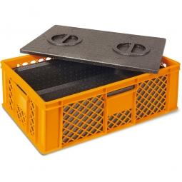 Eurobehälter mit EPP-Isolierbox, LxBxH 600 x 400 x 320 mm, 20 Liter, orange