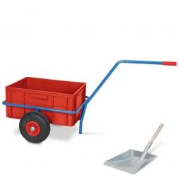 Handwagen für Streugut, kunststoffbeschichtet, mit eingesetztem Kunststoffbehälter, + GRATIS: 1x verzinkte Streuschaufel