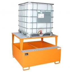 Auffangwannne für Tankcontainer, lackiert, BxTxH 1460x1460x1083 mm, Unterfahrhöhe 100 mm